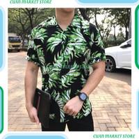 Kemeja floral pria tropical lengan pendek baju pantai cowok - M, Hija