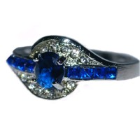 DISKON Cincin Batu Safir Biru Hiasan Kristal Emas Putih Sale