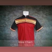 Baju Koko Tapis Lampung Twotone kombinasi maroon hitam distro lengan