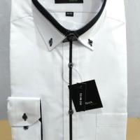 Baju kemeja Alisan Putih panjang Lis tengah Hitam Slim fit