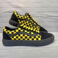 Sepatu Murah Vans Old Skool Black Yellow Motiv Catur