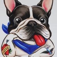 Kaos /T shirt/Baju/Kaos gambar hewan/Kaos gambar anjing FRANCIE tatto