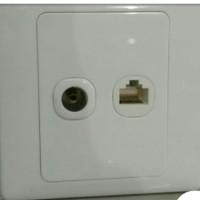 FACE PLATE MODULLAR RJ 45 LAN/INTERNET+ANTENA TV