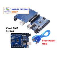 Arduino UNO R3 SMD CH340 + Kabel USB dan Header, Clone Grade Ori