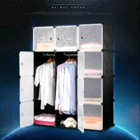 Magic Wardrobe Lemari Baju Plastik DIY 12 Pintu Warna Hitam