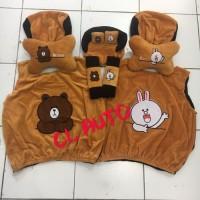 Sarung jok mobil 5 in 1 karakter brown cony warna coklat Bantal 5