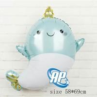 balon baby shark biru/ balon foil animal sea / balon karakter hiu