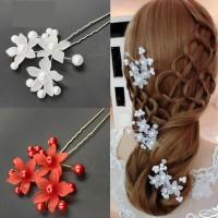Hair Pin / Pin Jepit Hiasan Rambut Sanggul Pesta Bunga dan Mutiara