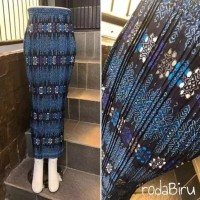 rok plisket batik motif songket biru
