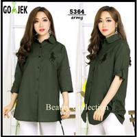 Baju Atasan Wanita Pakaian Wanita Ladies Sleeve Shirt hijau Army