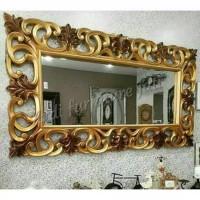Dekorasi dinding cermin tembok pigura ukir jati kaca cermin gantung