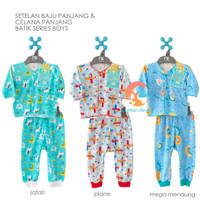 LIBBY Setelan BOY Baju Panjang & Celana Panjang NEWBORN (BATIK SERIES)