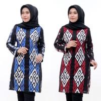 Baju Batik Tunik Wanita Motif Songket Lengan Panjang Jumbo