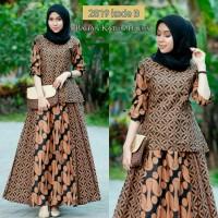 atasan batik Busana Muslim Wanita /Seragam Baju Gamis Pesta modern..