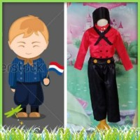 Kostum Anak Laki - Laki Baju Tradisional Negara Belanda 2 - 12 Tahun -