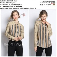Baju Atasan Kemeja Burberry Wanita Blouse Garis Korea Import Ab637267