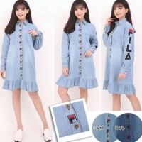 Dress Tunik Wanita Baju Kemeja Jeans Fila Best Seller Shirt 893