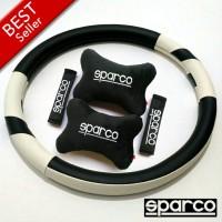 Paket bantal mobil dan cover stir SPARCO putih