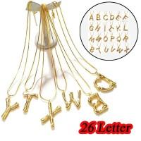 Kalung Rantai Bandul Huruf Inggris Warna Emas Simple untuk Wanita /