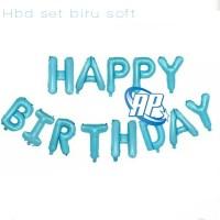 balon foil HBD set BIRU soft / balon happy birthday / balon set HBD