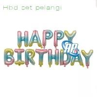 balon foil HBD set PELANGI / balon happy birthday / balon set HBD
