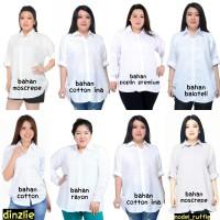Kemeja Wanita Cewek Warna Putih Polos Atasan Lengan Panjang