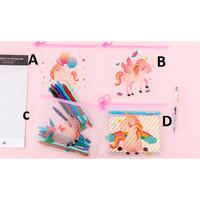 Pouch transparan unicorn tas kosmetik tempat pensil pink