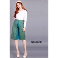 Batik Pants Celana Kulot Pendek Wanita Two Tone Kasual Formal NG302