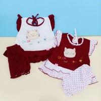 Baju bayi Perempuan All Size 0-12 bulan motif kucing