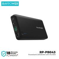 RAVPower Powerbank 20100mAh with PD+ Type C -30W- Black [RP-PB043]