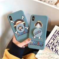 Cartoon Anime One Piece Silicon Cover With Popsocket iPhone 11 11pro