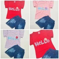 Terlaris hb HELLO JINS HRM Baju Setelan Anak Perempuan Oblong Pendek