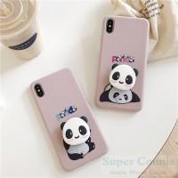 Soft Case Slim+PopSocket Motif Panda untuk Vivo S1 Y91 Y17 Y71 Y15