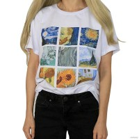 verivery Kaos T-Shirt Lengan Pendek Motif Lukisan Van Gogh Retro