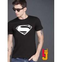 KAOS BAJU DISTRO Murah Superhero Super Hero SUPERMAN LOGO HITAM BLACK