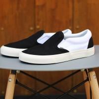 sepatu vans slip on casual pria slop hitam denim marun kets sneakers