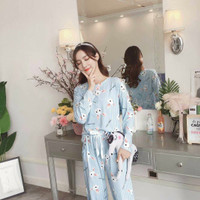 Baju tidur wanita Set piyama renda PP lucky rabbit biru
