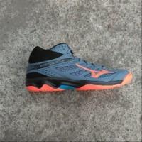 Sepatu Volley Volly Mizuno Thunder Blade MID Blue Mirage