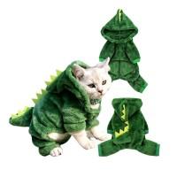 Baju Kostum Hoodie kupluk Anjing Kucing model Dinosaurus Hijau Medium