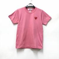 Comme De Garcons CDG Play Red Emblem Pink T-shirt Ladies 100% Original
