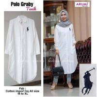 tunik putih polo /kemeja putih / baju kerja wanita baju kantor busui