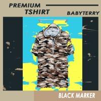 Baju Kaos hoodie - Hodie Kupluk - Premium Motif loreng coklat