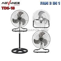 Kipas angin besi 18 inch inci 3 in 1 atau 3 fungsi / kipas advance tds