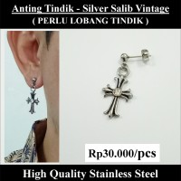 Anting Tindik Cowok Pria - Silver Salib Vintage