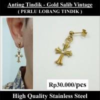 Anting Tindik Cowok Pria - Gold Salib Vintage