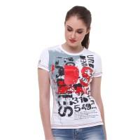 LGS - Slim Fit - Kaos Wanita - Gambar Sablon - Putih - S