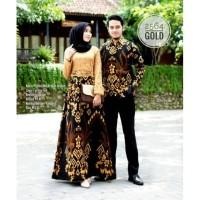 Baju Batik Couple Pasangan / Gamis Brukat Kombinasi Batik Soga 2564