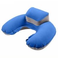 Bantal Leher U-Shape Inflatable Air Blow Up Bantal Travel Nyaman Tiup