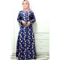 Baju Gamis Wanita Muslim Terbaru Maxi Olivia Flaminggo Navy