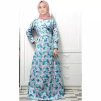 Baju Gamis Wanita Muslim Terbaru Maxi Olivia Flaminggo Biru Muda